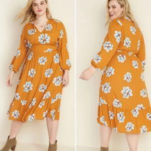 Old Navy • floral waist defined ruffle midi dress